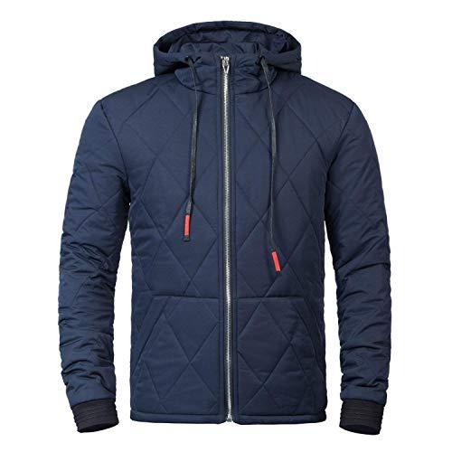 Leisure Mens Down Jacket Warm Lightweight Jacket Hooded Hoodie Clásico Men Long Sleeve Hooded Outerwear Boy Blau