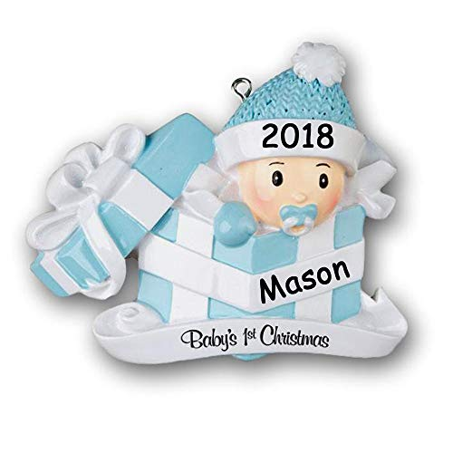 Personalized 2018 Babys First Christmas Ornament Gift - Baby Boy in Gift Box - Custom Name and Date