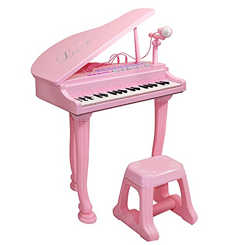 Honor-Y Kids Toy Grand Piano With 37-Key Keyboard Stool and Microphone Little Princess Education Baby Toy Piano Support Ipad/Smartphone/MP3 for Toddlers Boys and Girls (Pink)