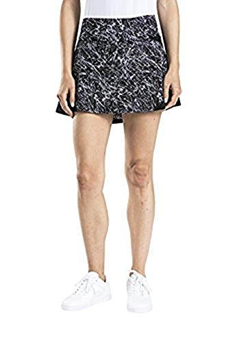 Prince Women's Stretch Woven Mesh Tennis Skort, Black/White, Medium -