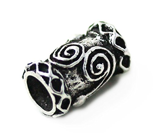 LynnAround 925 Sterling Silver Norse Viking Celtic Beard Rings, Dreadlock Pirate Medieval Hair Beads, Pagan Jewelry