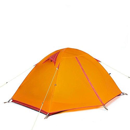 誰も治療説教QFFL zhangpeng テントアルミポールダブルレインテントアウトドア2人野キャンプテント2色オプション205x(130 + 60)x110cm トンネルテント ( 色 : 緑 )