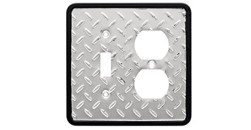 Brainerd 126486 Diamond Plate Collection Single Switch/Duplex, Polished Chrome and Black