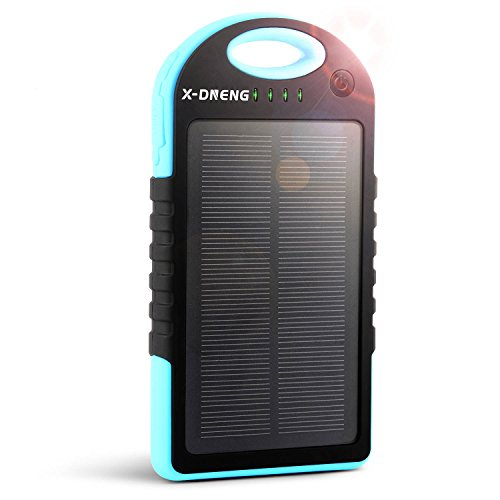 Solar Charger, X-DNENG 12000mAh High Capacity Portable Solar Power Bank Waterproof Shockproof Dustproof Solar Battery Charger Dual USB Port LED Light for iPhone iPad Samsung Android and More (Blue) by X-DNENG