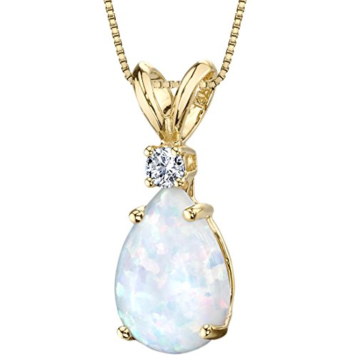 14 Karat Yellow Gold Pear Shape Created Opal Diamond Pendant Diamond Pear Opal Pendant