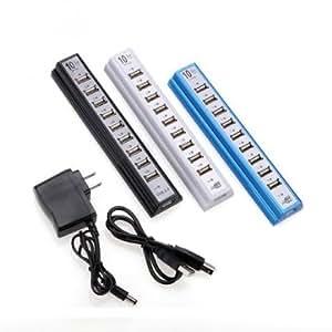 Bheema De alta calidad de Nueva HUB de 10 puertos USB 2.0 de alta velocidad con adaptador de energía - Black