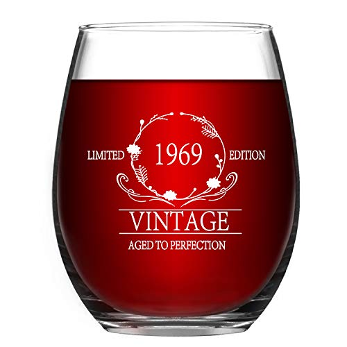 (Wine Glass 1969 50th Vintage Wine Glass -15 oz Stemless Wine Glass Funny 50 Year Old Presents Anniversary Gift for Women Men Him Her Husband Wife Mom Dad)