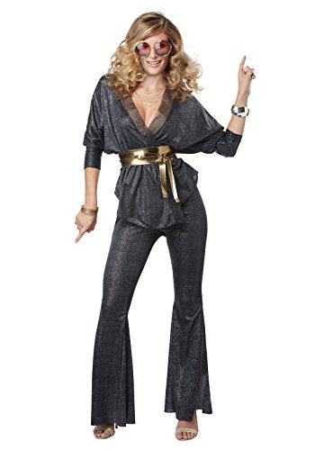 California Costumes Women's Disco Dazzler Adult Woman Costume, Black/Gold, Medium