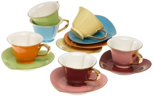 Tea and Coffee Cups with Saucers (Set of 6) by Classic Coffee & Tea|Charming, Inside Out Heart Shaped Cups Saucers|Fine Porcelain In 6 Colors with Gold Plated Ends & Handles|Great Gift Idea|6.5 oz