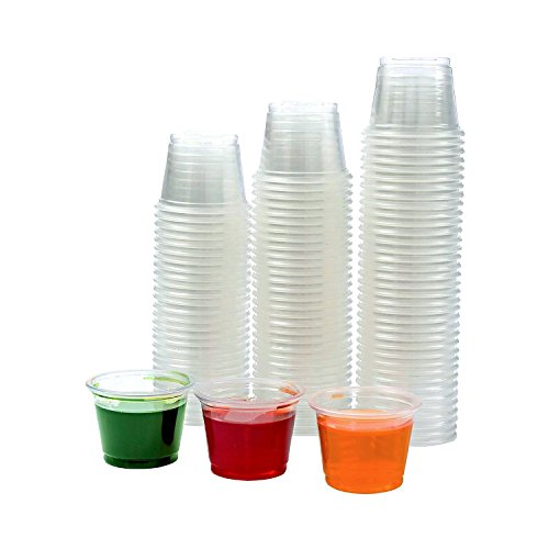 Adorox Clear Plastic Portion Cups with Lids Condiment Dips, Sauce, Jello Shots, Souffle, Disposable ( 1 oz, 125 Cups)