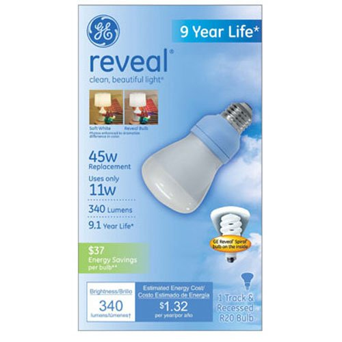 g e lighting 61354 GE, FLE11R20XLRVL/BX, 11W, Reveal Compact Fluorescent Bulb