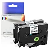 """KCMYTONER 2 Pack Compatible for Brother TZ-221 TZ221 TZe221 TZe-221 Standard Laminated Label Tape for P-Touch PT-D200 PT-D210 PT-D400 PT-H100 PT-P700 Label Maker, Black on White 3/8"""" 26.2ft (9mm x 8m)"""