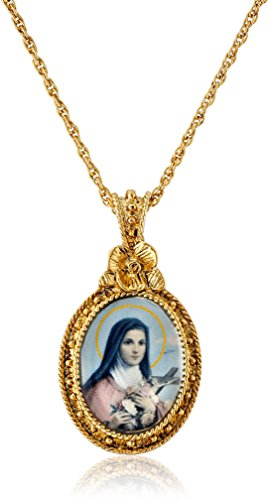 Symbols of Faith 14k Gold-Dipped St. Therese Medallion Pendant Necklace, 16