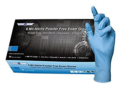 """Clean Safety Nitrile High-Risk Medical Grade Examination Glove, 8 mil, 12"""" Extra Long Cuffs, Powder-Free, Textured, Latex-Free, Chemotherapy Tested, Synthetic Nitrile Rubber"""