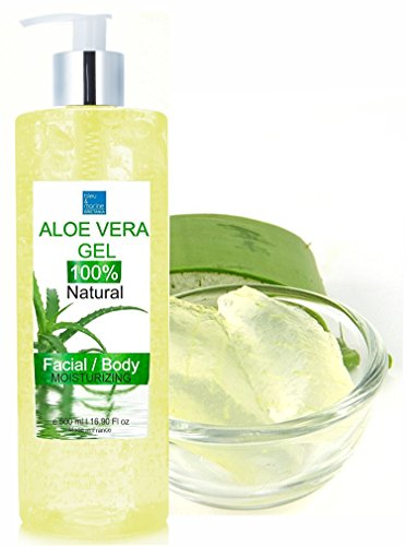 100% Rein natürlich Konzentrat: Aloe Vera Gel für Gesicht, Haare & Körper 500 ml - Sonnenbrand, Hautausschlag, Käfer- oder Insektenstiche, trockene und beschädigte alternde Haut, Rasurbrand und Akne - Made in Frankreich