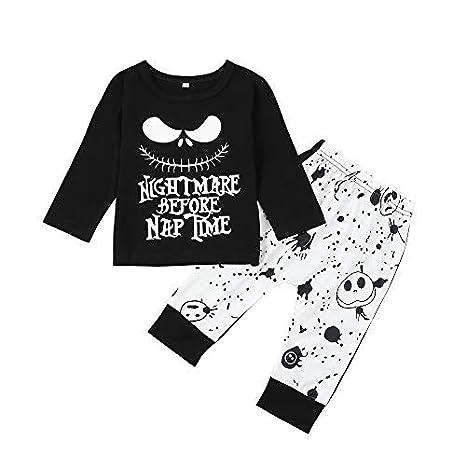 Dacestar Toddler Baby Boys Clothes 2PCs Outfit Set Nightmare Before Christmas Printing Conjunto de Ropa de Manga Larga y Pantalones Ropa para ni/ños