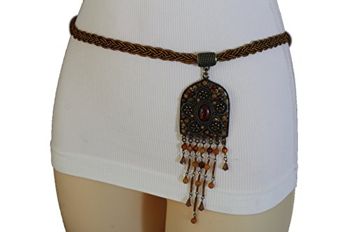TFJ Women Brown Braided Wrap Tie Belt Silver Metal Chain Antique Gold Ethnic M L XL