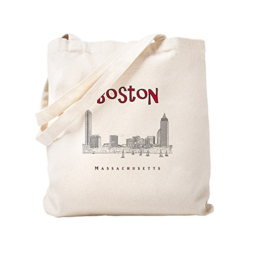 10_Skyline_Blackred Natural Canvas Tote Bag, Cloth Shopping Bag ()