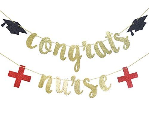 Congrats Nurse Banner Gold & Red Glitter Banner, Nurse Graduation Party Decorations, RN Graduation Party Supplies.