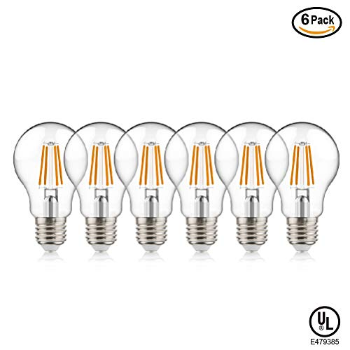 Techlux 60W Equivalent Dimmable 9W A19 Vintage LED Edison Filament Light Bulbs 806 lumens Clear Glass,Soft White 2700K,E26 Screw Base,Pack of - Glass 9w