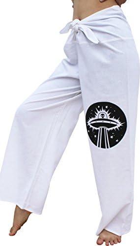 RaanPahMuang Warm Cotton Handmade Front Tie Yoga Pants with Alien Print