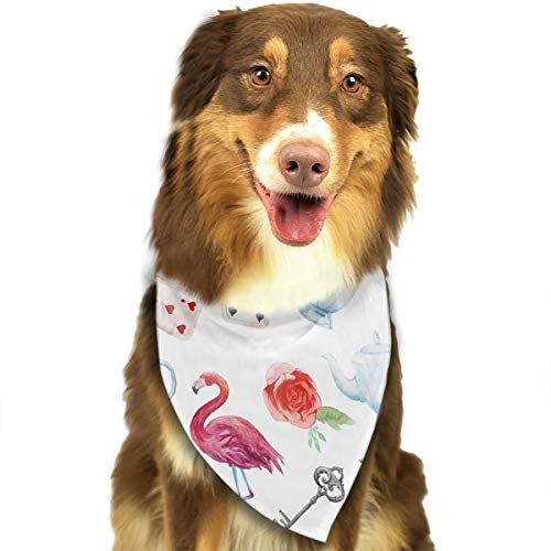 Flamingo,Playing Cards,Old Silver Key Pattern Fashion Dog Bandana Bibs Scarf Pet Dog Cat Dog Scarf]()