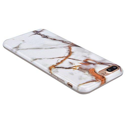GrandEver iPhone 7 Plus Weiche Silikon Hülle Marmor Handy hülle Braun und Weiß Marble Malerei Schlank TPU Bumper HandyTasche Case Muster Flexible Ultra Slim Schutzhülle Zurück Linien Soft Back Cover S