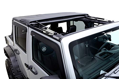 Rampage Products 139835 TrailView Fold-Back Soft Top for 2007-2018 Jeep Wrangler JK Unlimited 4-Door, Black Diamond Sailcloth w/Tinted Windows (Best Jk Soft Top)