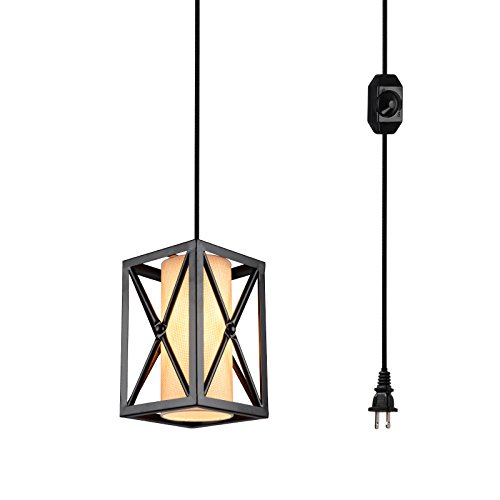 Bronze Linen Shade Plug (HMVPL Plug-In Industrial Pendant Light with Linen Lamp Shade, 15 Ft Hanging Cord and Dimmable On/Off Switch for Dining Room, Bed Room)