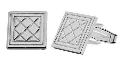 Amoro Italian Sterling Silver Cufflinks with Tartan Pattern