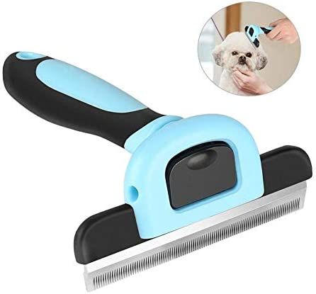 Tiscen Dog Deshedding Tool, Pet Grooming Brush Fur Undercoat Rake Comb for Small, Medium & Large Dogs, Cats & Horses with Short to Long Hair, Loose Undercoat, Knots, Mats