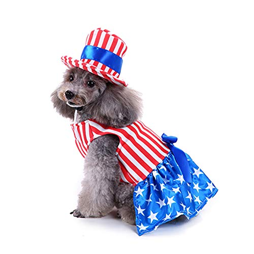WORDERFUL Pet Dog Costume American USA Flag Harness with Vivid White Stars Design Stripes Clothes for Memorial Day for Dogs (S, Girls) -