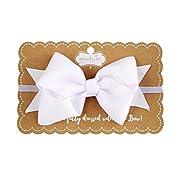 Mud Pie Newborn Baby Elastic Bow Headband, White