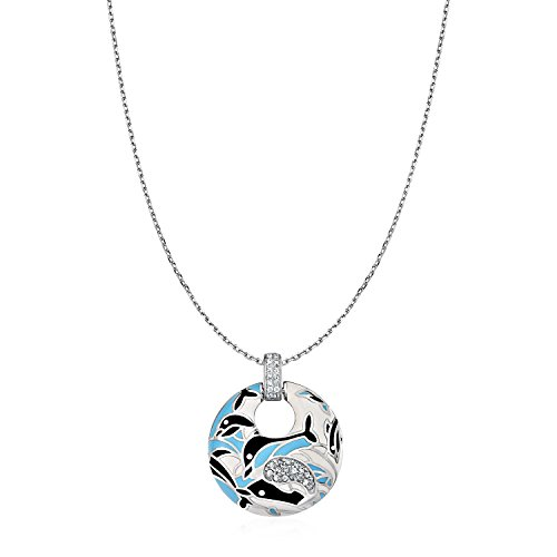 Dolphin Motif Pendant with Enamel and Cubic Zirconia in Sterling (Dolphin Motif)