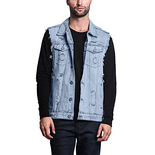 - Summer Fashion Men's Fashion Hole Short-Sleeved Men's Tops Denim Vest Light Blue