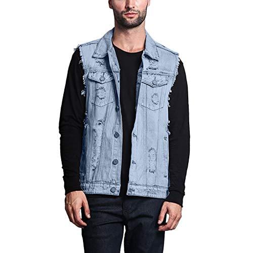 Summer Fashion Men's Fashion Hole Short-Sleeved Men's Tops Denim Vest Light Blue