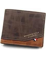 Mens Leather Wallet with Zipper Coin Wallets for Men Card & Money Wallet with 2 Zipper Pockets (Brown)