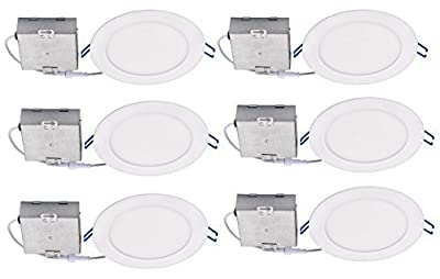 """Topaz Lighting (Pack of 6) 77234 12W Slim 6"""" Dimmable Recessed Ceiling Downlight, 4000K, White, Easy to Install, Save Time and Money, Energy Efficient LED Lighting"""