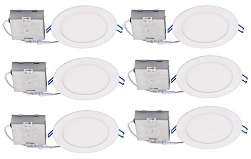 Topaz Lighting (Pack of 6) 77233 Slim 6'' Dimmable Recessed Ceiling Downlight, 3000K, White, Easy to Install, Save Time and Money, Energy Efficient LED Lighting