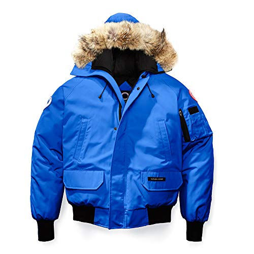Winter Goose Down Men's Canada Chilliwack Bomber Blue Jacket-(XXL) (Canadian Down & Feather Company Gel Microfibre Duvet)
