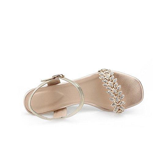 Cuña De Tacón Alto Para Mujer Con Punta Abierta De Amoonyfashion Sandalia Sólida De Material Con Diamante De Color Dorado