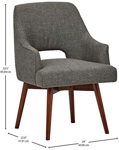 Rivet Mid-Century Open Back Swivel Chair, 24″W, Marble - 5