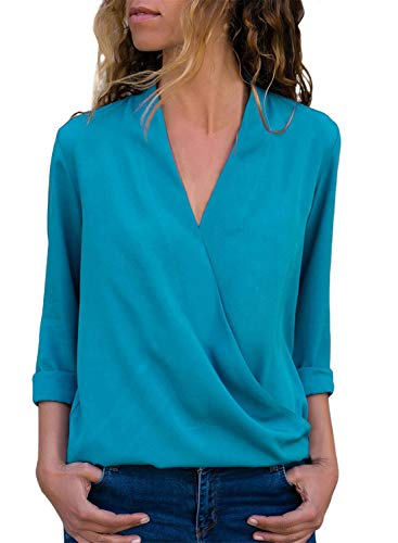 Asyoly Women Casual Wrap Front V Neck Long Sleeve Loose Fit Basic Blouse T Shirt Tops ()