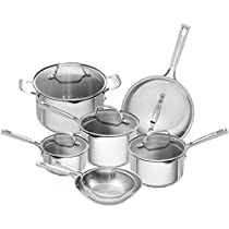 Emeril Lagasse 12 Piece Stainless Steel Copper Core Cookware Set, Assorted, Silver