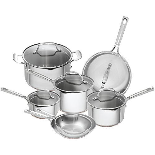 Emeril Lagasse 12 Piece Stainless Steel Copper Core Cookware Set, Assorted, Silver by Emeril Lagasse