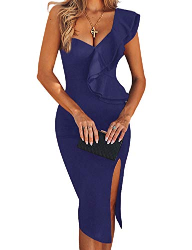 - UONBOX Women's One Shoulder Sleeveless Knee Length Side Split Fashion Bandage Dress (XL, Navy Blue)