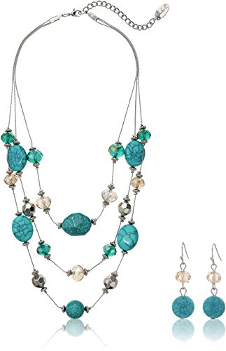 Fashion Three-Row Mixed Bead Faux Turquois Illusion Necklace Jewelry - Necklace Bead Illusion