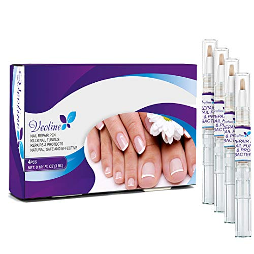 Nail Repair Pen, Toenail and Fingernails Treatment, Solution Repairs and Protects from Discoloration, Brittle and Cracked Nails, 4 Count
