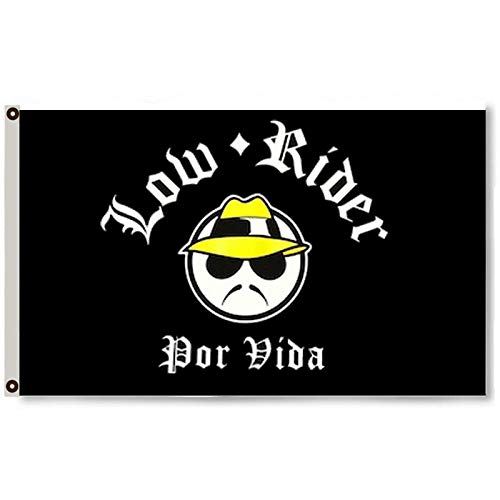 Astany Low Rider Por Vida Flag 3X5FT Black Banner