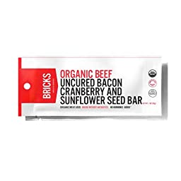Bricks Grass Fed Beef, Uncured Bacon, Cranberry, & Sunflower Seed Bar 1 oz (12 Pack)